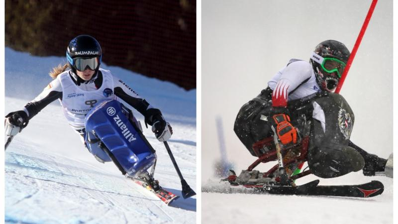two female Para alpine skiers