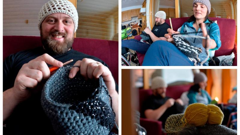 a man and a woman crocheting