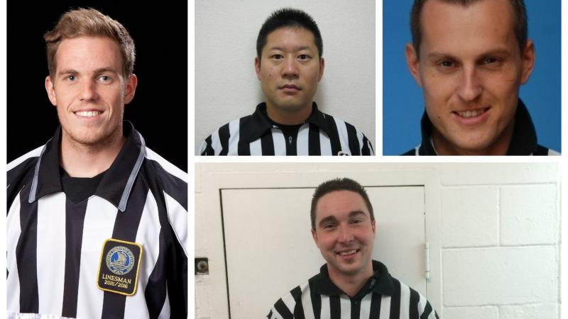 Photo collage of four male ice hockey officials