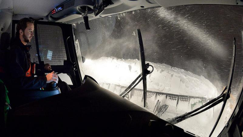 Photo from inside a snow plow