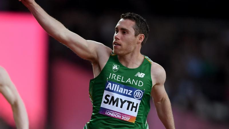 Jason Smyth of Ireland celebrates as he crosses the line to win the Men's 100m T13 Final at the London 2017 World Para Athletics Championships.