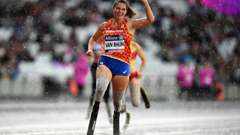 Marlou van Rhijn of Netherlands celebrates after winning gold in the Womens 200m T44 final at the London 2017 World Para Athletics Championships.