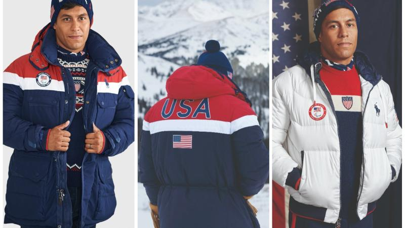 a man modelling winter jackets with the USA logo on them