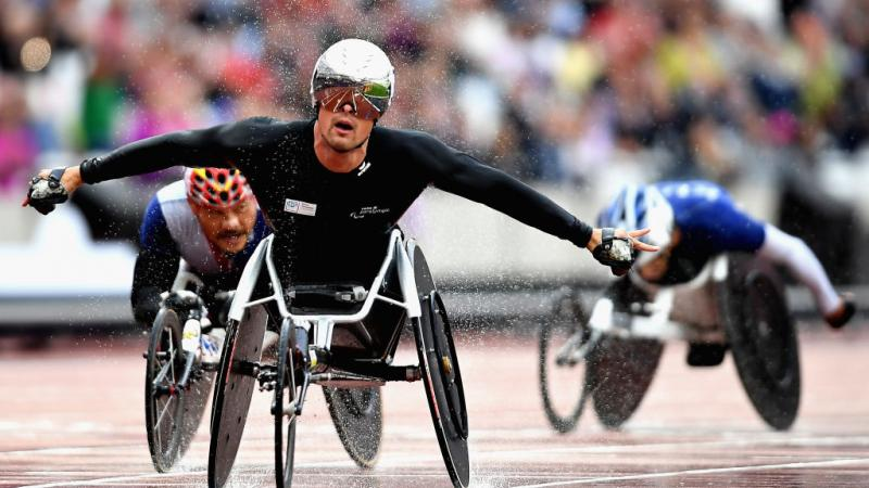 Marcel Hug of Switzerland competes in the Men's 5000m T54 final at the London 2017 World Para Athletics Championships.