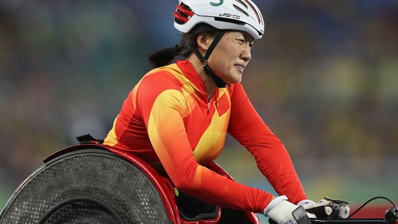 Hongzhuan Zhou of China prepares to compete in the Women's 800m - T53 Final at the Rio 2016 Paralympic Games.