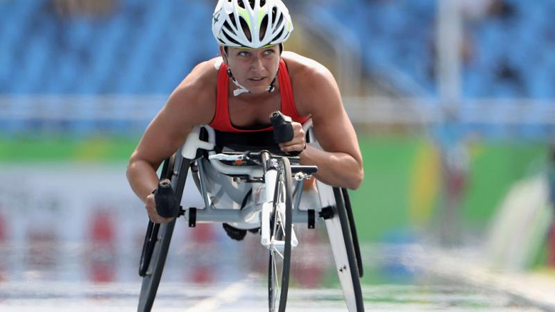 Manuela Schaer of Switzerland competes in the Women's 5000m - T54 Heat at the Rio 2016 Paralympic Games.