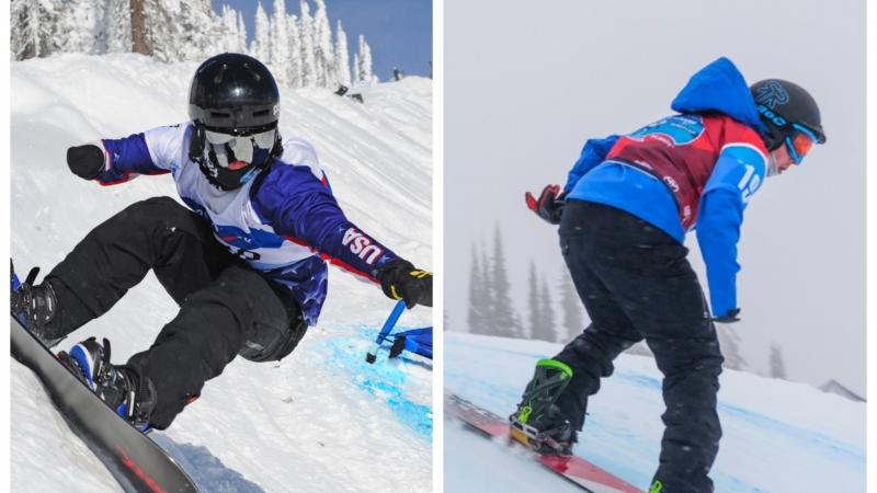 two male Para snowboarders