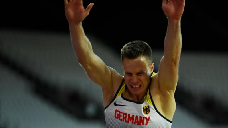 Markus Rehm of Germany competes in the Men's Long Jump T44 Finalat the London 2017 World Para Athletics Championships.