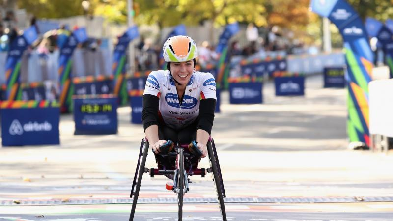 Photo of a female wheelchair racer