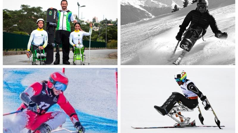 Para skiers competing on the slopes