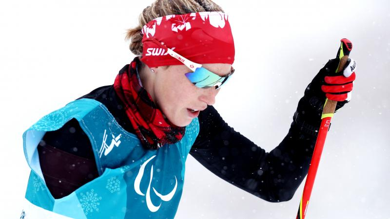 Canada's Emily Young in cross-country skiing at the PyeongChang 2018 Paralympic Winter Games.
