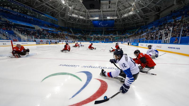Athletes playing Para ice hockey