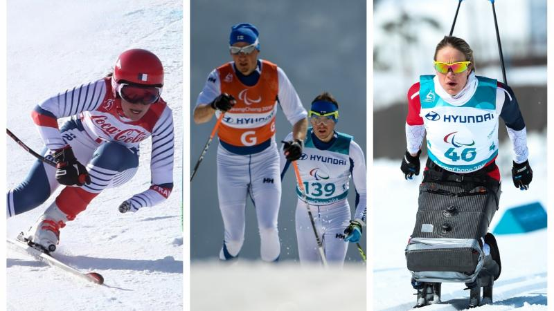 three winter Para athletes in action