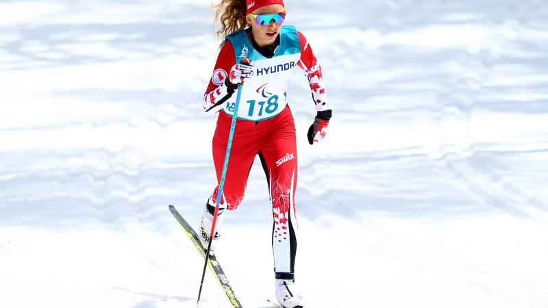 a female Nordic skier during a race