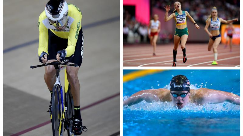 swimmer, cyclist and runner competing at sports
