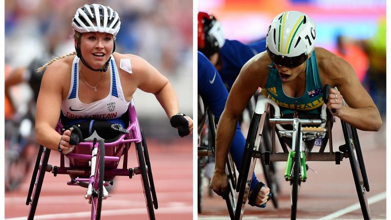 two female wheelchair athletes crossing the line