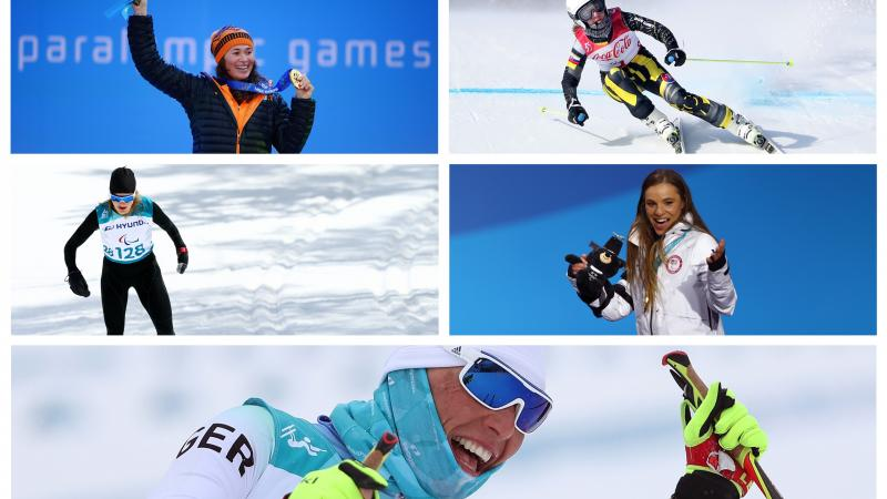 five female athletes competing in winter sports