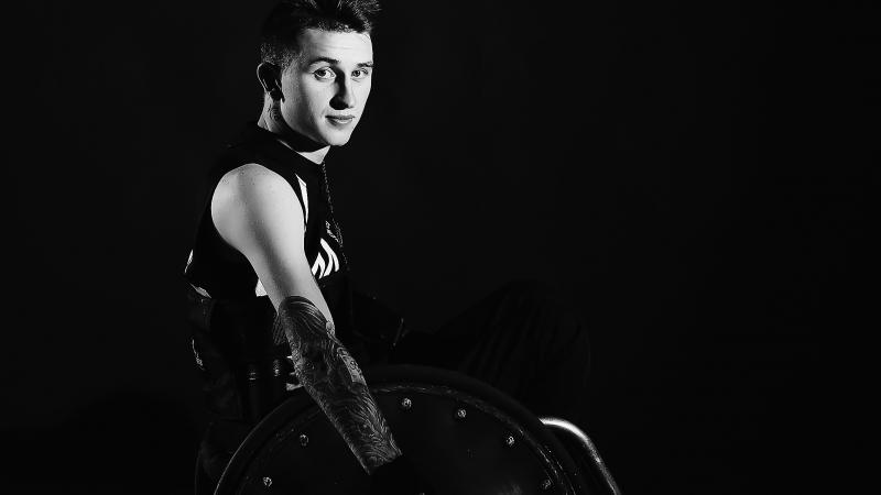 A male wheelchair rugby player
