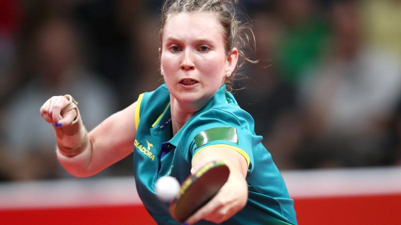 Australian table tennis player Melissa Tapper competing at Gold Coast 2018