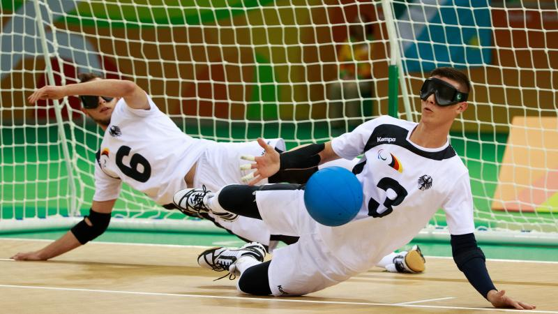 male goalball players in action