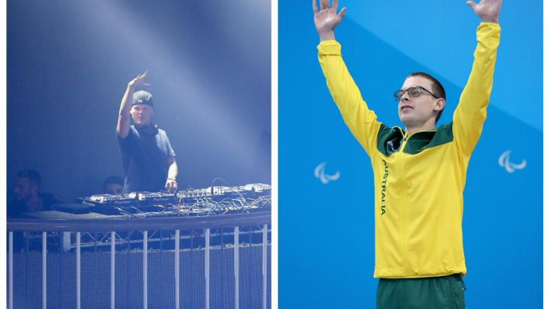 a male DJ at the decks and a swimmer raising his arms on the podium
