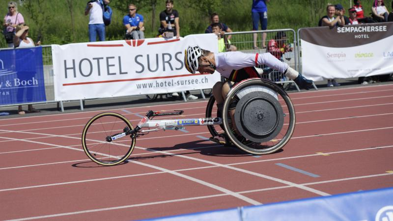 Athlete competing in a wheelchair