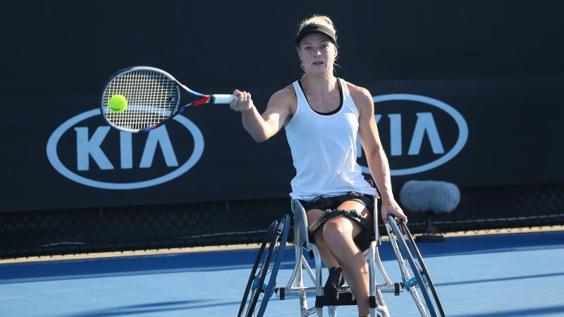 a female wheelchair tennis player