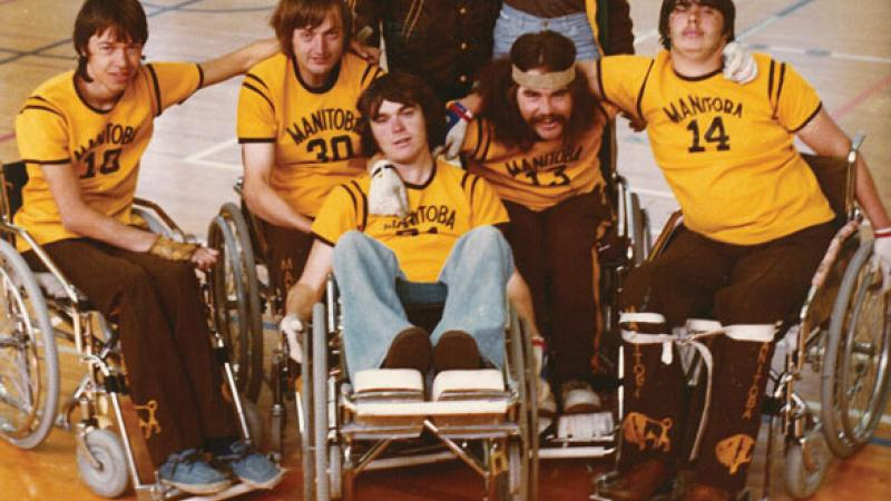 Duncan Campbell (centre) with fellow wheelchair rugby founders