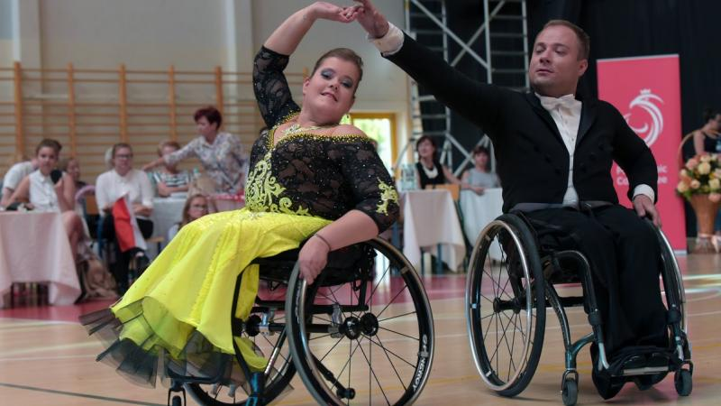 Male and female wheelchair dancers perform