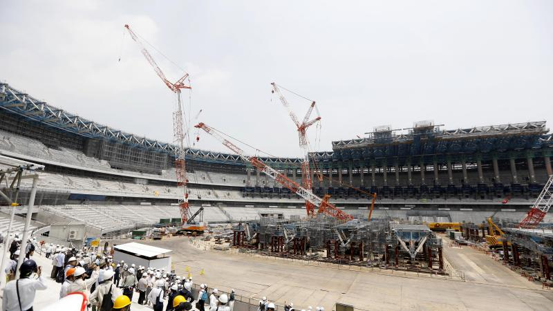 a wide shot of the Tokyo 2020 Olympic Stadium under construction