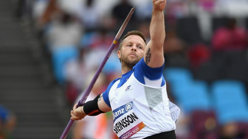 male Para athlete Helgi Sveinsson prepares to throw the javelin