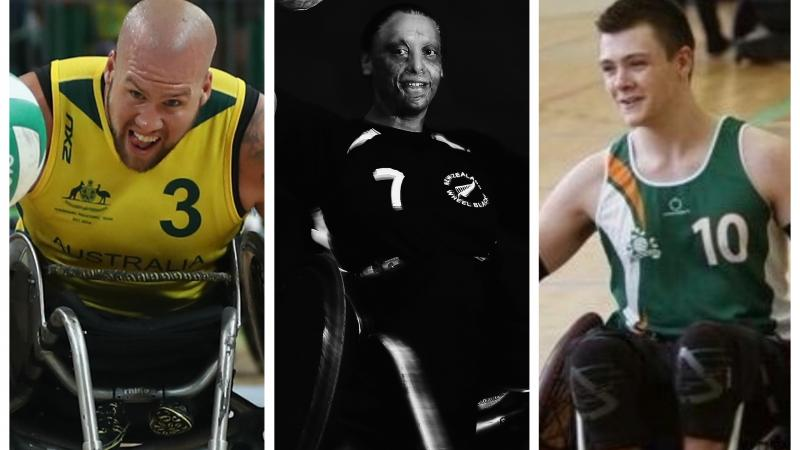 wheelchair rugby players Ryley Batt, Maia Amai and Thomas Moylan in action on the court