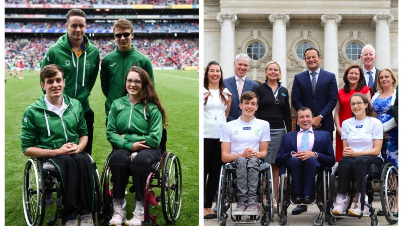 A group of male and female swimmers in wheelchairs on a football pitch and with the Taoiseach outside Dublin's government buildings