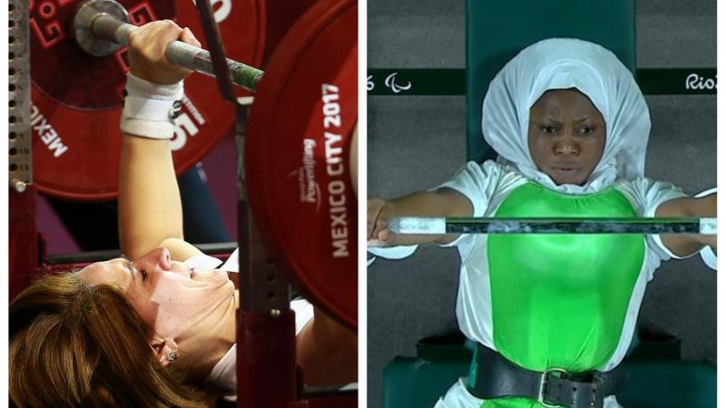 female powerlifters Samira Guerioua and Latifat Tijani competing