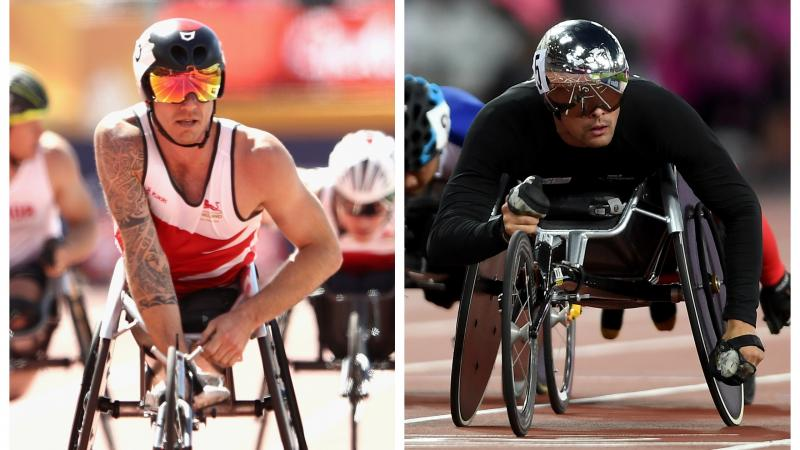 male wheelchair racers Richard Chiassaro and Marcel Hug on the track