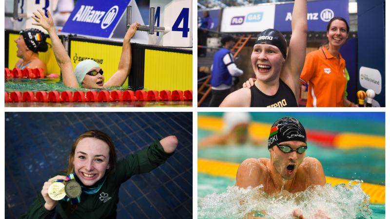 Para swimmers Ihar Boki, Liesette Bruinsma, Ellen Keane and Yelyzaveta Mereshko celebrating their wins