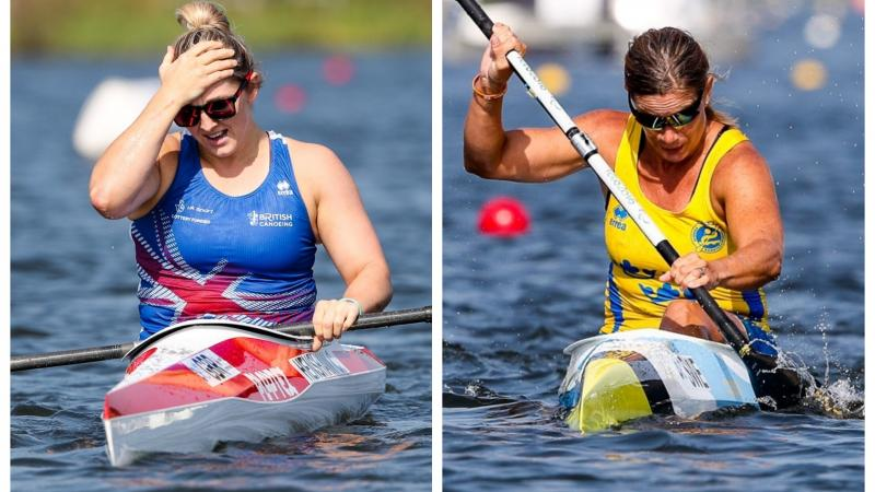 female Para canoeists Charlotte Henshaw and Helena Ripa in their boats on the water