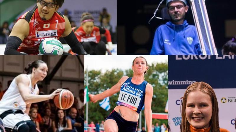 Picture collage of boccia, wheelchair basketball, wheelchair rugby, swimming and athletics athletes nominated for a poll
