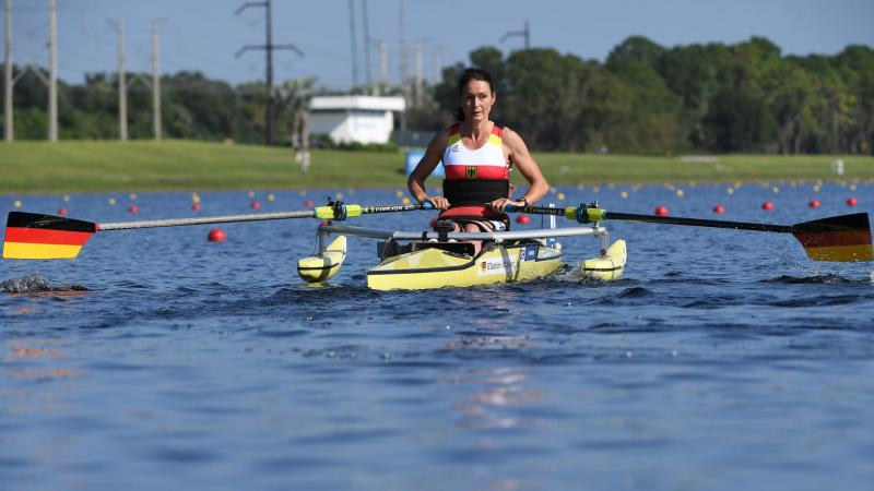 female Para rower Sylvia Pille-Steppat in her boat