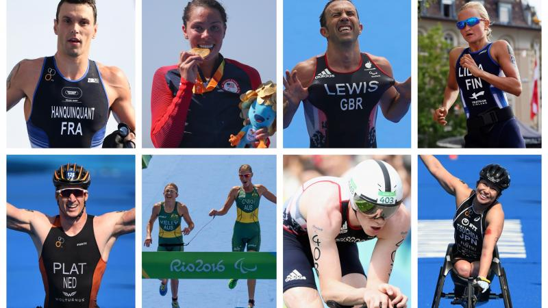 male and female Para triathletes competing in the sport