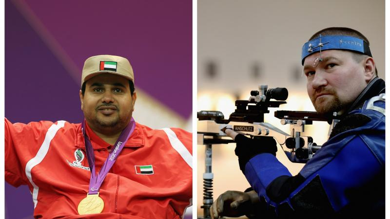male Para shooters Abdulla Sultan Alaryani and Vasyl Kovalchuk take aim