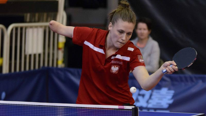 female Para table tennis player Natalia Partyka plays a forehand
