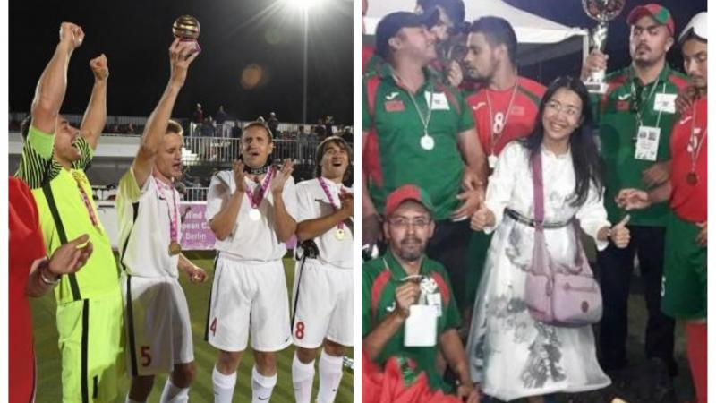 two groups of blind footballers from Russia and Morocco celebrating with a trophy