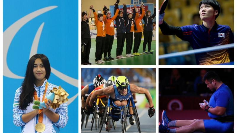 Collage with a swimmer, powerlifter, goalball team, wheelchair racer and table tennis player