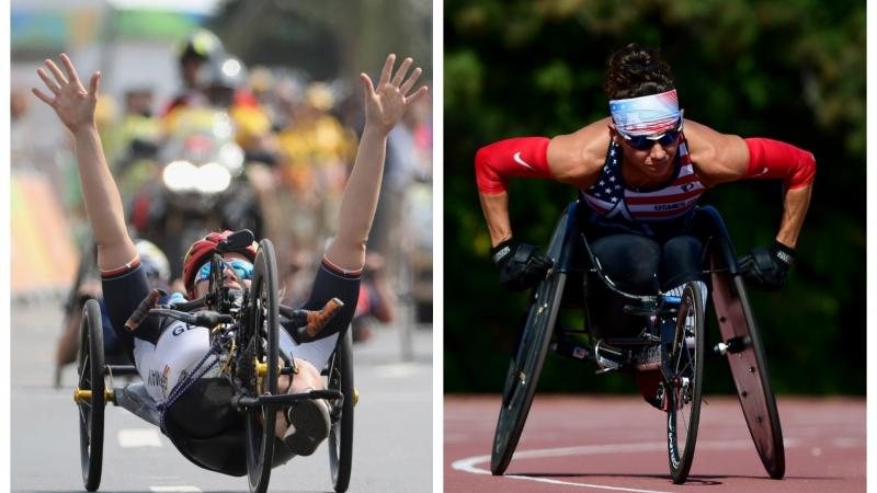 female Para triathletes Christiane Reppe and Kelly Elmlinger racing in a hand-cycle and a wheelchair