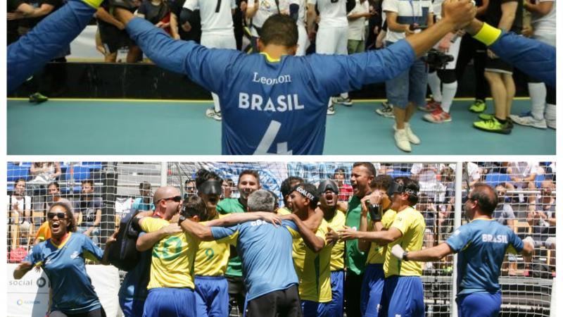 a group of male Brazilian blind footballers and goalball players celebrating wins