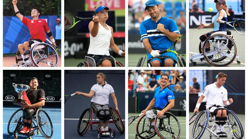 eight wheelchair tennis players in action on the court