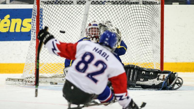 A Para ice hockey in front of the goal