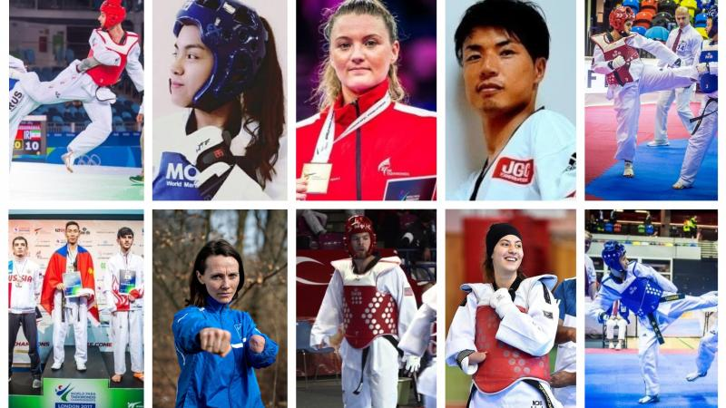 Picture collage of 10 taekwondo fighters