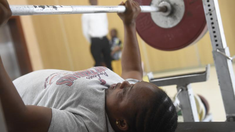 Para powerlifter practices during training camp in Lagos